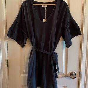Bell sleeve belted sheath dress